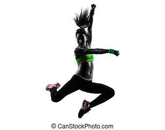 kvinna, exercerande, fitness, zumba, dansande, hoppning,...