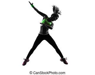 kvinna, exercerande, fitness, zumba, dansande, hoppning, silhuett