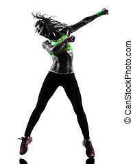 kvinna, exercerande, fitness, zumba, dansande, silhuett