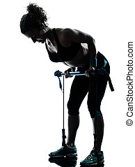kvinna, exercerande, gymstick, fitness, genomkörare