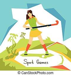 kvinna, fält, atlet, konkurrens, spelare, hockey, sport