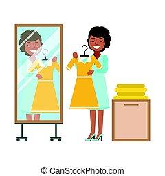 kvinna, färgrik, rum, gul, vektor, illustration, påklädning, försökande, klänning