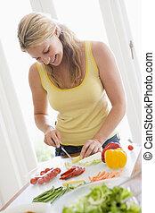 kvinna, förberedande, måltiden, ,