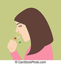 kvinna, fördelning, influensa, hosta, nysa, virus
