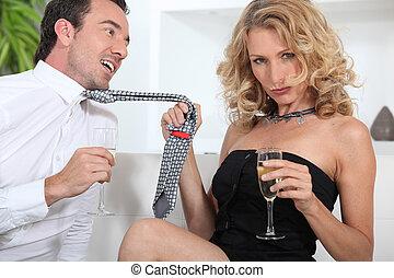 kvinna, förföra, champagne, man