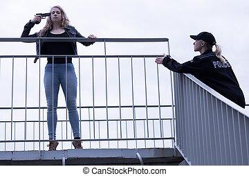 kvinna, försökande, stopp, kvinnlig polis