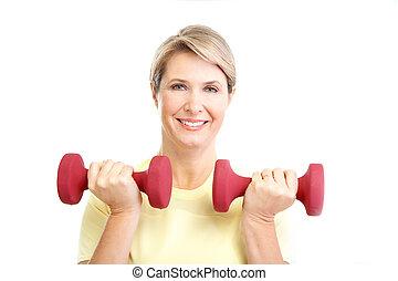 kvinna, &, fitness