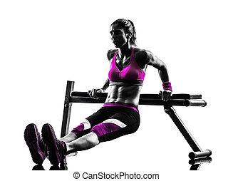 kvinna, fitness, hyvelbänk tryck, push-ups, träningen, silhuett