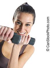 kvinna, fitness, med, hantlar, isolerat, vita