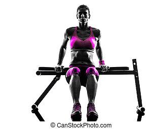kvinna, fitness, push-ups, träningen, silhuett