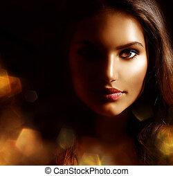 kvinna flicka, skönhet, mystisk, stående, sparks., gyllene, ...