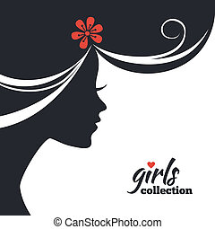 kvinna, flickor, kollektion, flowers., silhuett, vacker