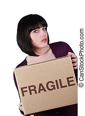 kvinna, flyttande dag, olycklig