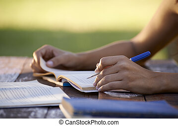 kvinna, folk, studera, universitet, ung, utbildning, pröva