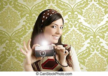 kvinna, foto, tapet, sixties, kamera, grön, retro