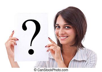 kvinna, fråga, affär, märke