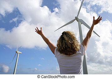 kvinna, framme av, slingra turbiner