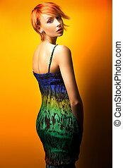 kvinna, framställ, mode, skönhet, foto