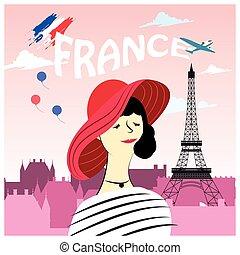 kvinna, fransk, mode, affisch
