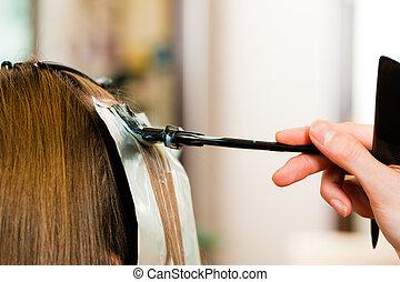 kvinna, frisör, färga, hår, färsk, får, ?