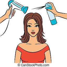 kvinna, frisyr