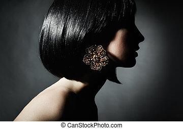 kvinna, frisyr, sensuell, stående, elegant, vacker