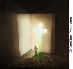 kvinna gående, genom, a, bibel, dörr