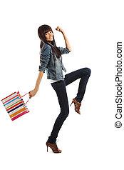 kvinna, gående shoppa