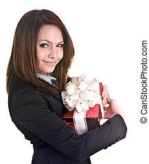 kvinna, gåva, box., affär
