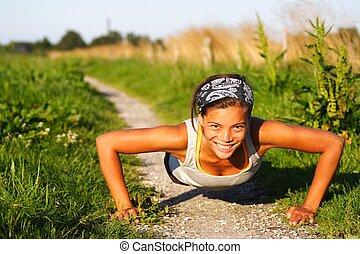 kvinna, gör, övning