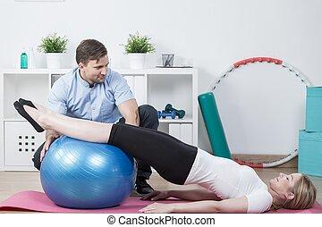 kvinna, gör, fysioterapi, träningen
