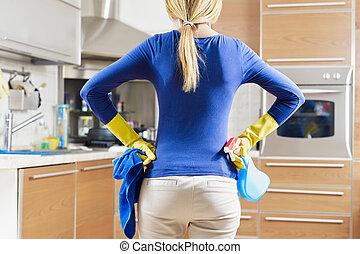 kvinna, gör, hushållning
