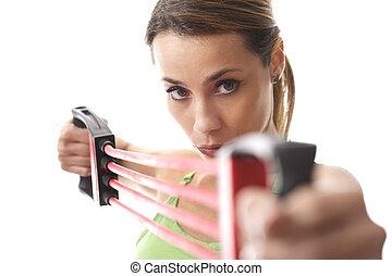 kvinna, gör, lämplighet utöva, med, gummi musikkår