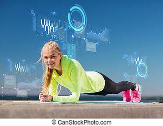 kvinna, gör, sports, utomhus