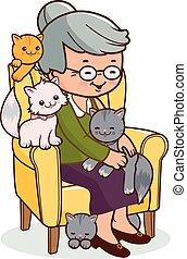 kvinna, gammal, henne, sittande, fåtölj, cats., vektor, ...