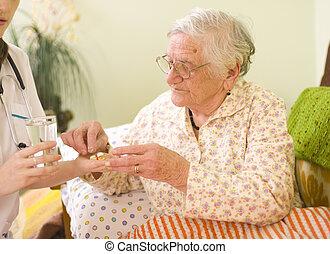 kvinna, gammal, mediciner