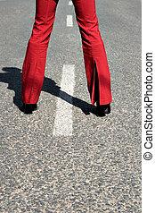 kvinna, gata, ung