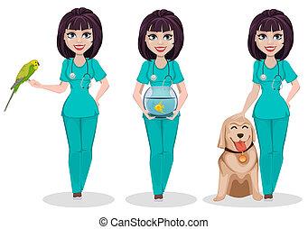 kvinna, ge sig sken, sätta, veterinär, tre
