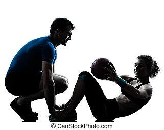 kvinna, genomkörare, exercerande, boll, vikter, fitness, man