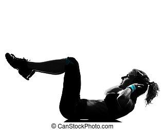 kvinna, genomkörare, fitness, ställing, abdominals, trycka,...