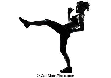 kvinna, genomkörare, fitness, ställing