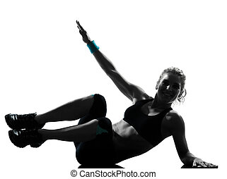 kvinna, genomkörare, fitness, trycka, ups, abdominals, ställing