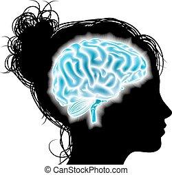 kvinna, glödande, hjärna, begrepp