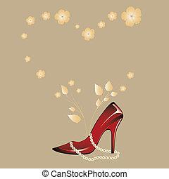 kvinna, glatt, röd, sko