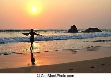 kvinna, goa, indien, meditera, ung, strand., agonda, syd