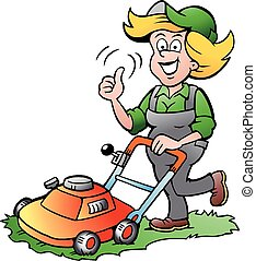 kvinna, gräsklippare, trädgårdsmästare