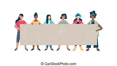 kvinna, grupp, mångfaldig, tom, holdingen, baner, vän