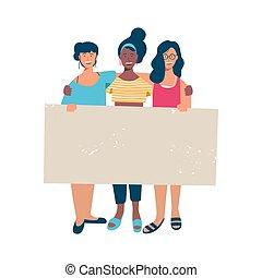 kvinna, grupp, text, holdingen, tom, baner, tom