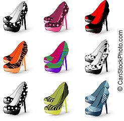 kvinna, häl, skor, hög