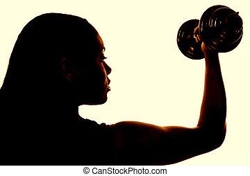 kvinna, hälsa, fitness